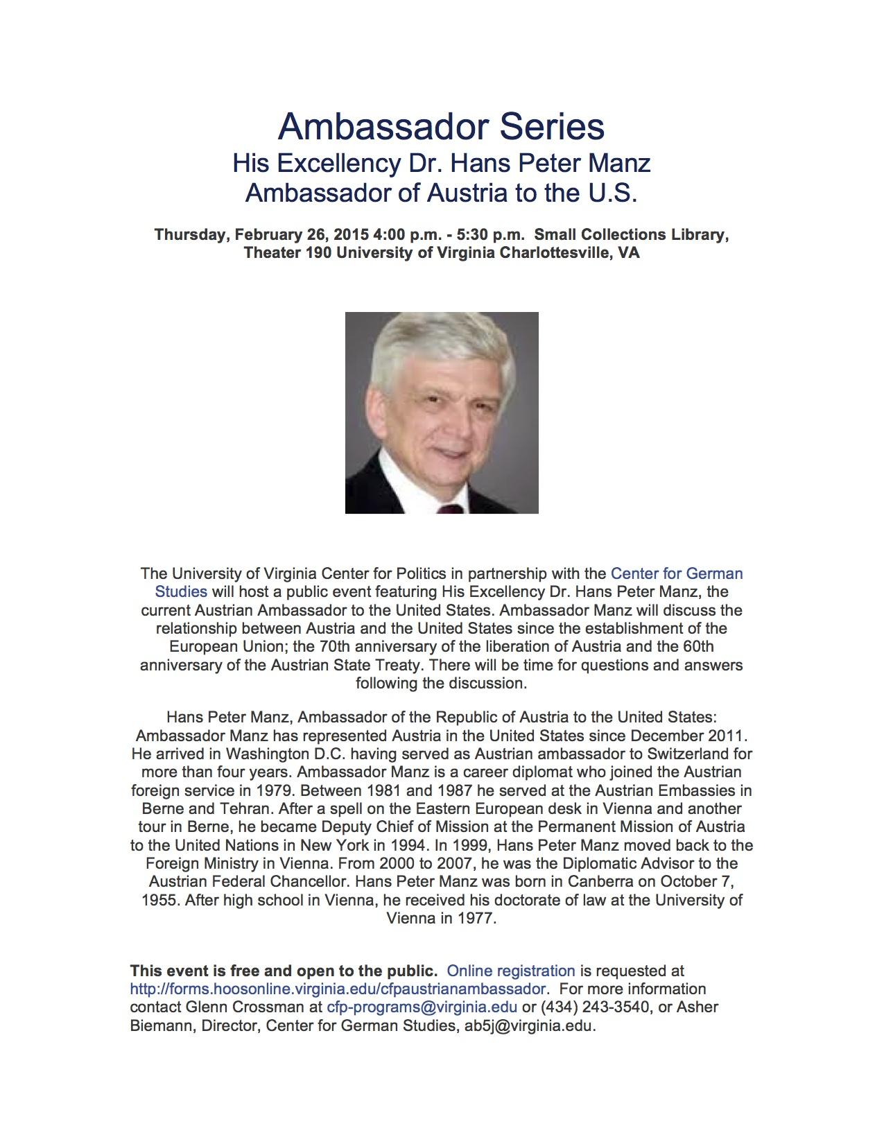Austrian Ambassador Hans Peter Manz