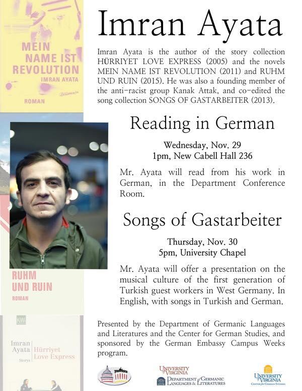 Imran Ayata, German Author in Residence